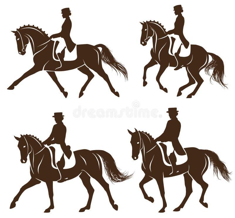 Set dressage konie z jeźdzem royalty ilustracja