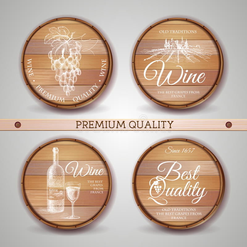 Set drewniane beczki z wino etykietką ilustracja wektor