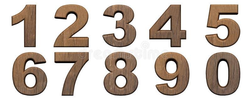 Set drewniane 3d liczby ilustracji