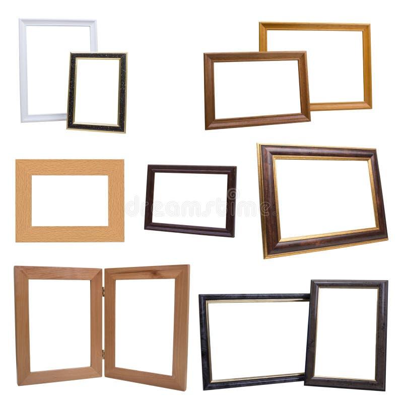 Set drewniane obrazek ramy, odosobniony na białym tle obrazy royalty free