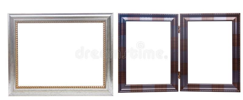 Set drewniane obrazek ramy, odosobniony na bielu obrazy stock