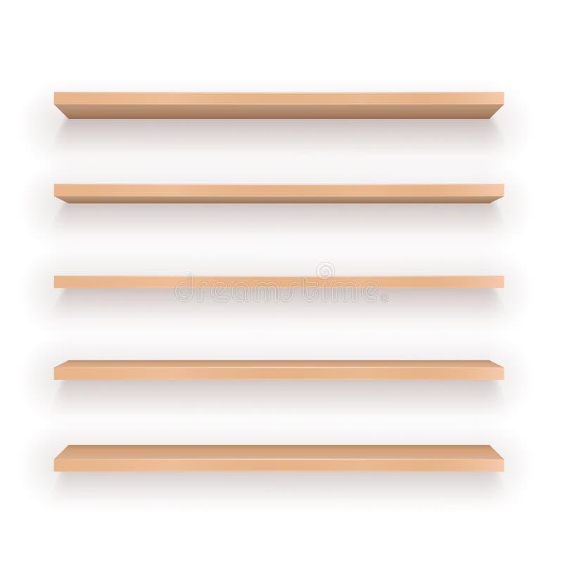 Set Drewniane półki ilustracji