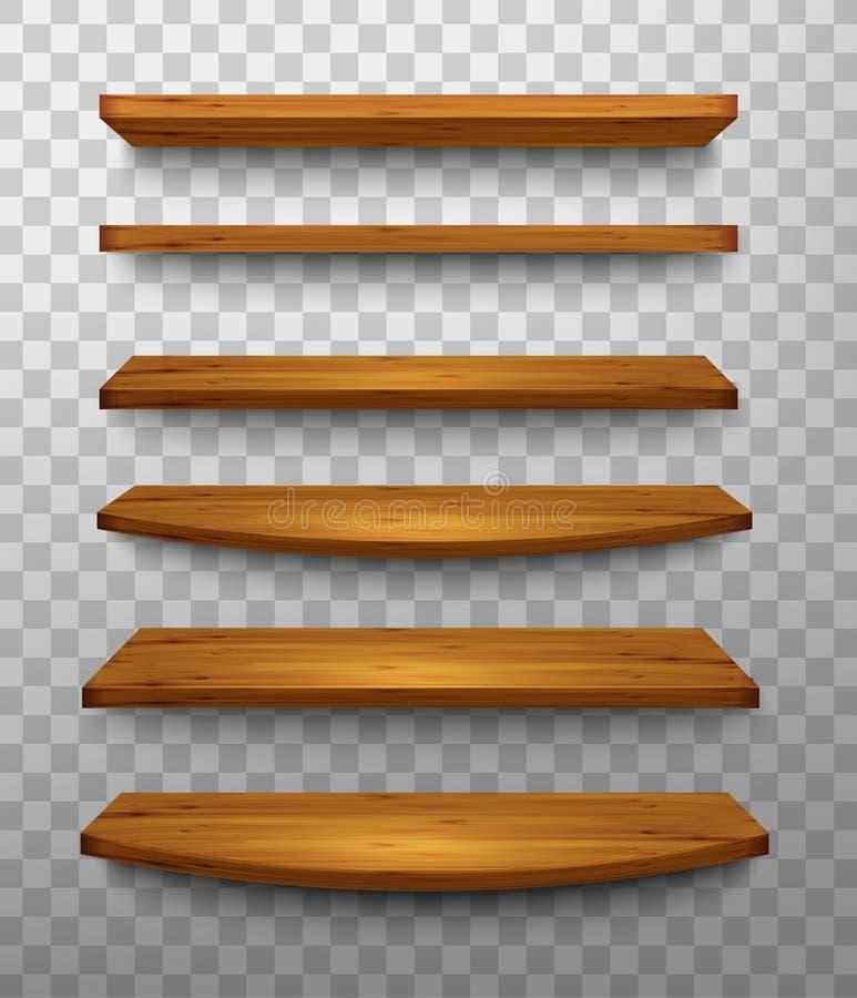 Set drewniane półki na przejrzystym tle ilustracji