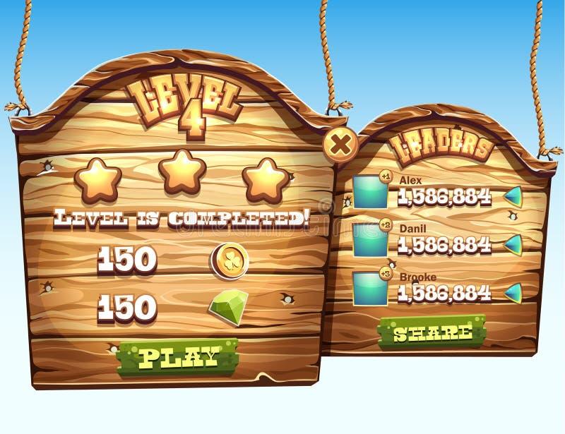 Set drewniani okno ukończenie przejście poziom dla interfejsu użytkownika w grą komputerowej ilustracja wektor