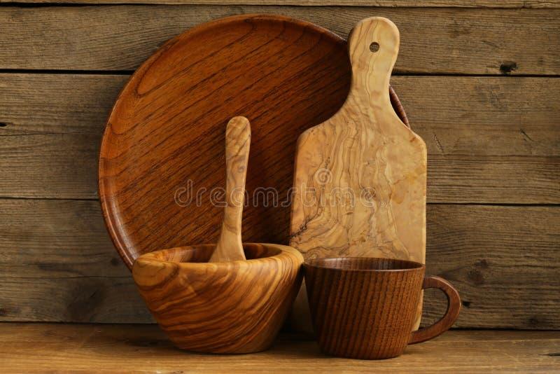 Set drewniani organicznie naczynia zdjęcia stock