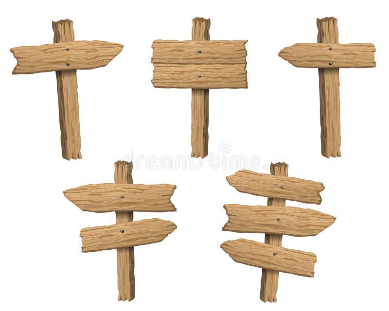 Set drewniany sztandar, szyldowe poczty lub deski, ilustracja wektor