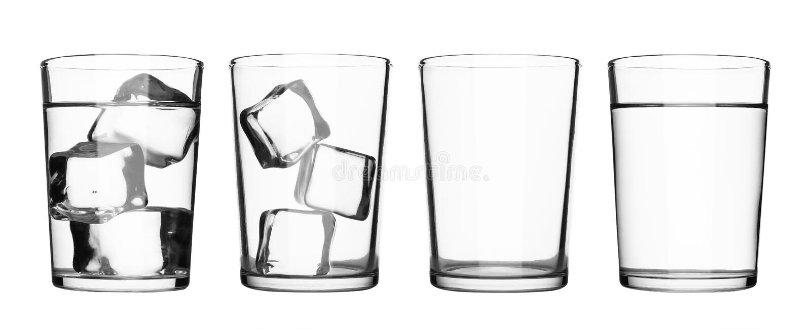 Set of drink glass with water and ice cubes isolated on pure white background. Glass of water or refreshment.  Clipping path royalty free stock photo