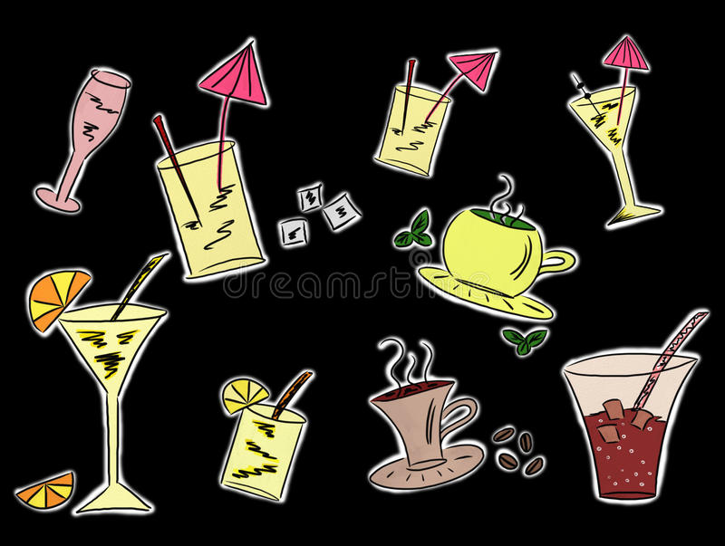 Download Set Of Drinks Drawings Royalty Free Stock Photo - Image: 19071695