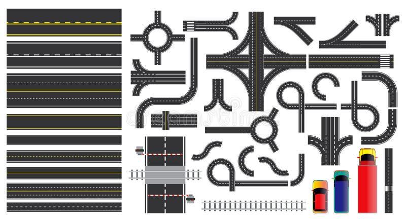 Set drogowe części z przeklętą linią, pobocza ocechowaniem, skrzyżowania złączem i crosswalk, ilustracja wektor