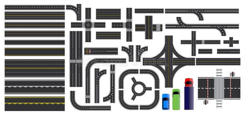 Set drogowe części z przeklętą linią, pobocza ocechowaniem, skrzyżowania złączem i crosswalk, royalty ilustracja