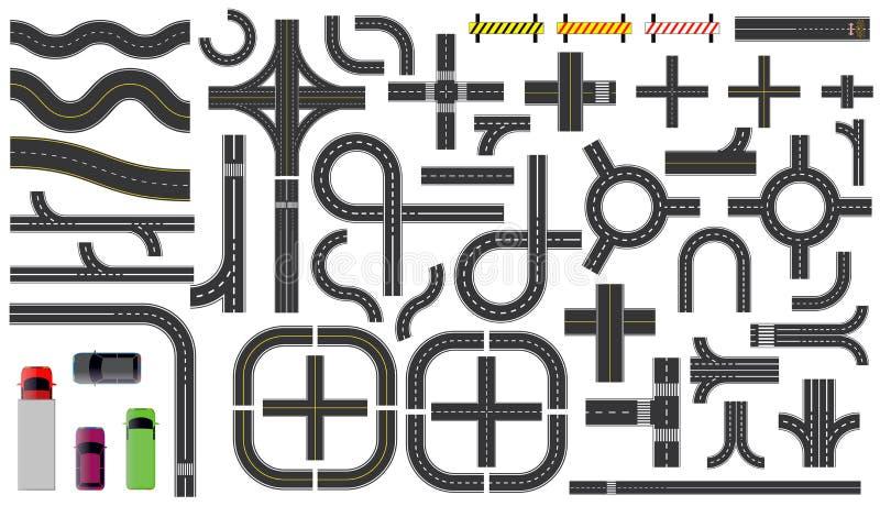 Set drogowe części z przeklętą linią, pobocza ocechowaniem, skrzyżowania złączem i crosswalk, ilustracji