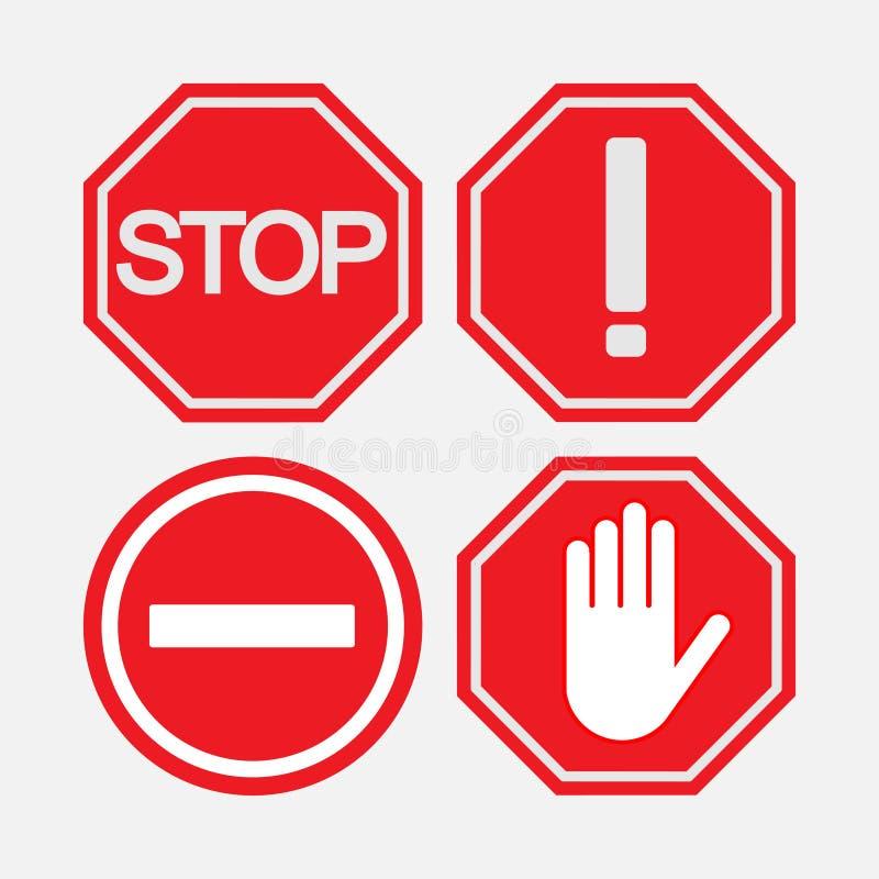 Set drogowi przerwa znaki, bezpieczeństwo na drogowym, zawiadamiać i prohib, ilustracji