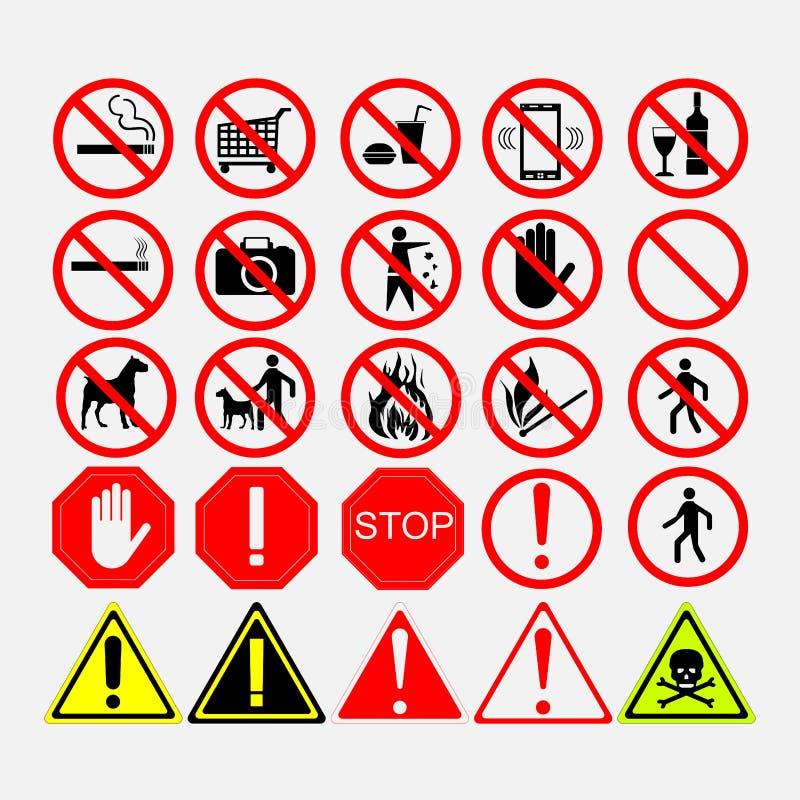 Set drogowi znaki znaki ostrzegawczy lub zabraniać znaki, royalty ilustracja