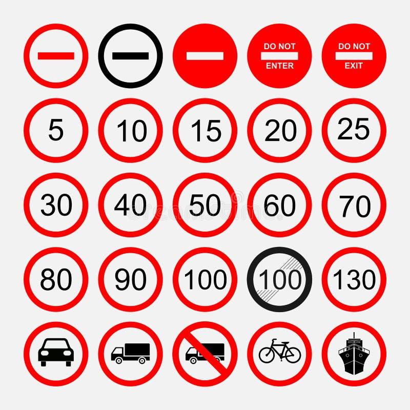 Set drogowi znaki znaki ostrzegawczy lub zabraniać znaki, ilustracji