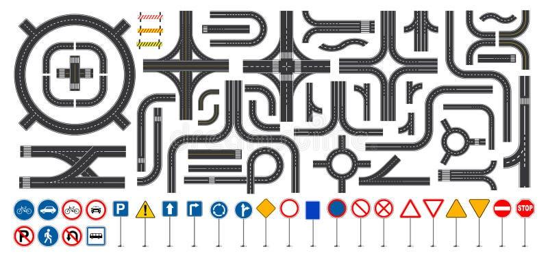 Set drogowy znak i drogowe części z przeklętą linią, pobocza ocechowaniem, skrzyżowania złączem i crosswalk, royalty ilustracja