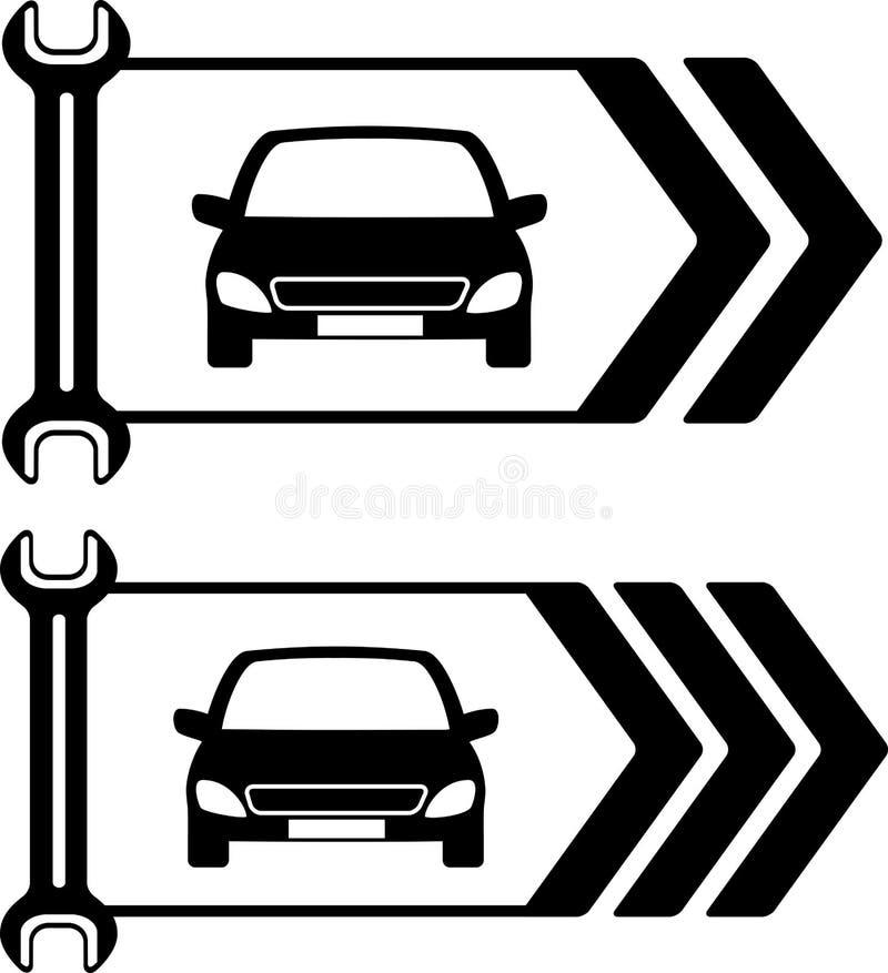 Set drogowy znak samochód naprawa ilustracja wektor