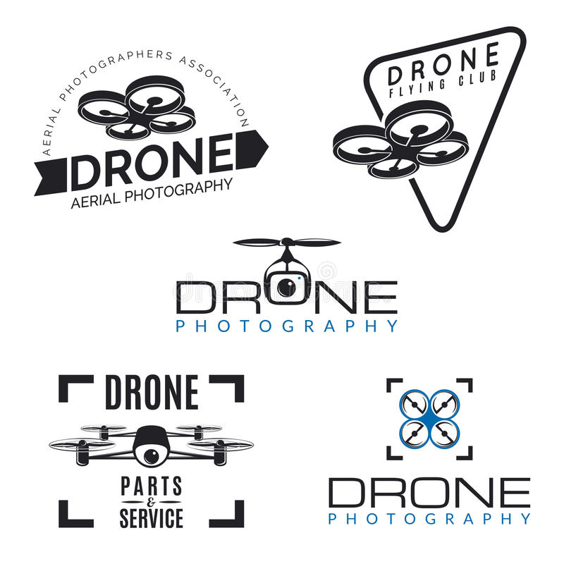 Set of drone logos, badges and design elements. Quadrocopter store, repair & service logotypes