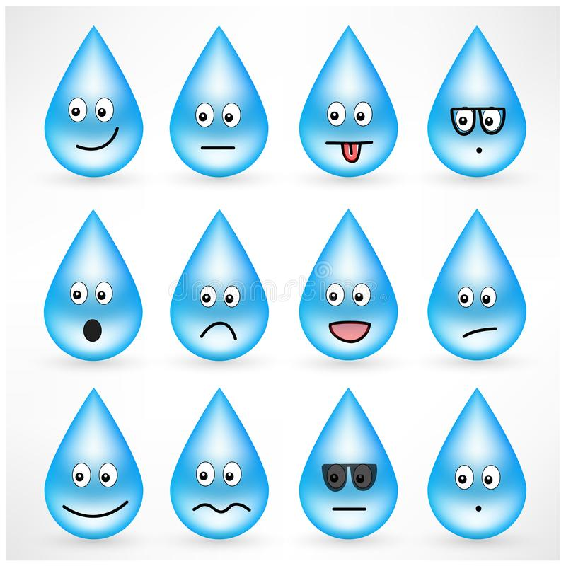Set of drops with smiley emoticon faces stock illustration