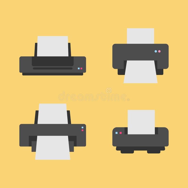 Set 4 drukarki ikony płaskiej różnicy na ciepłym pomarańczowym tle ilustracja wektor