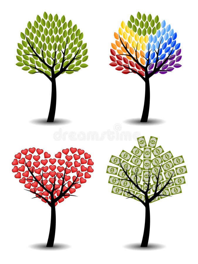Set drzewa. Eco, tęcza, serca, pieniądze. royalty ilustracja