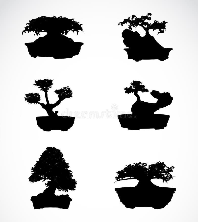 Set drzewa w garnkach royalty ilustracja