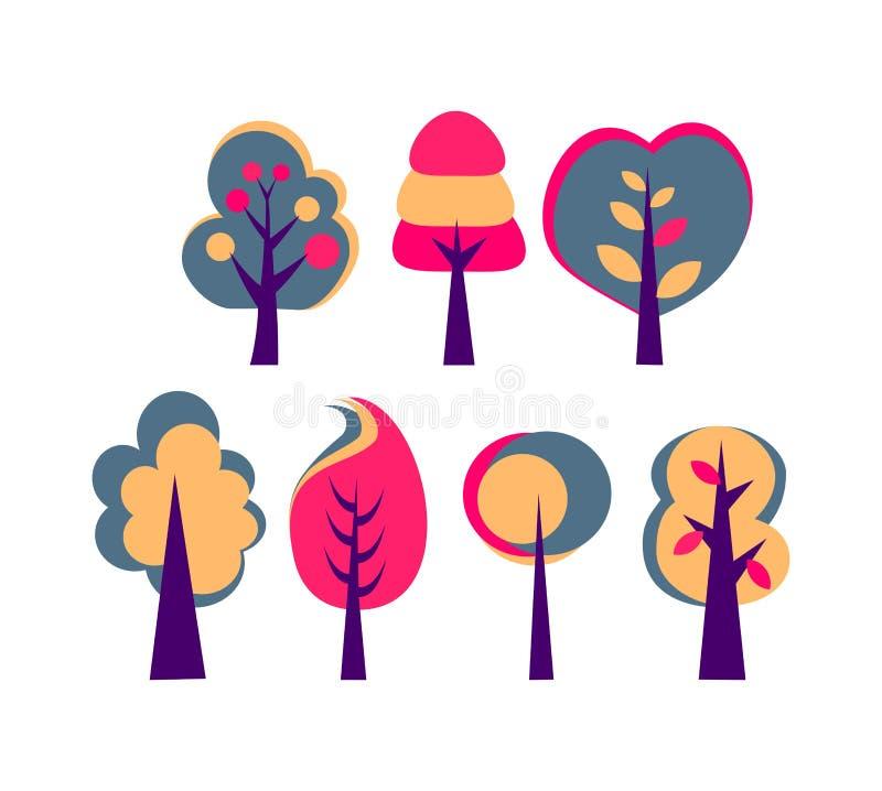 Set drzewa z dużej korony wektorowym abstrakcjonistycznym rysunkiem ilustracji