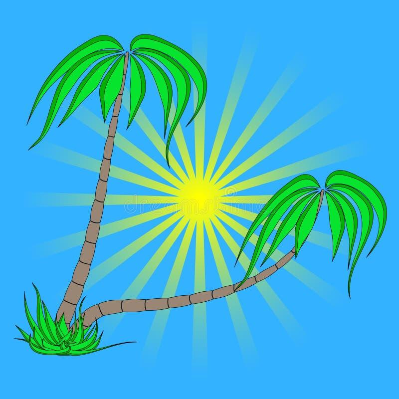 Set drzewka palmowe na niebieskiego nieba wschód słońca tle royalty ilustracja