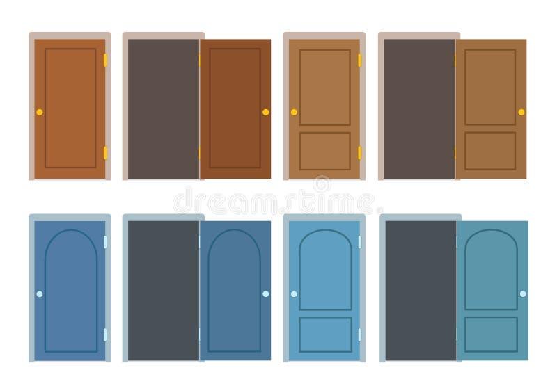 Set drzwi w brown i błękitnym kolorze, różne pozycje, zakończenie ilustracji