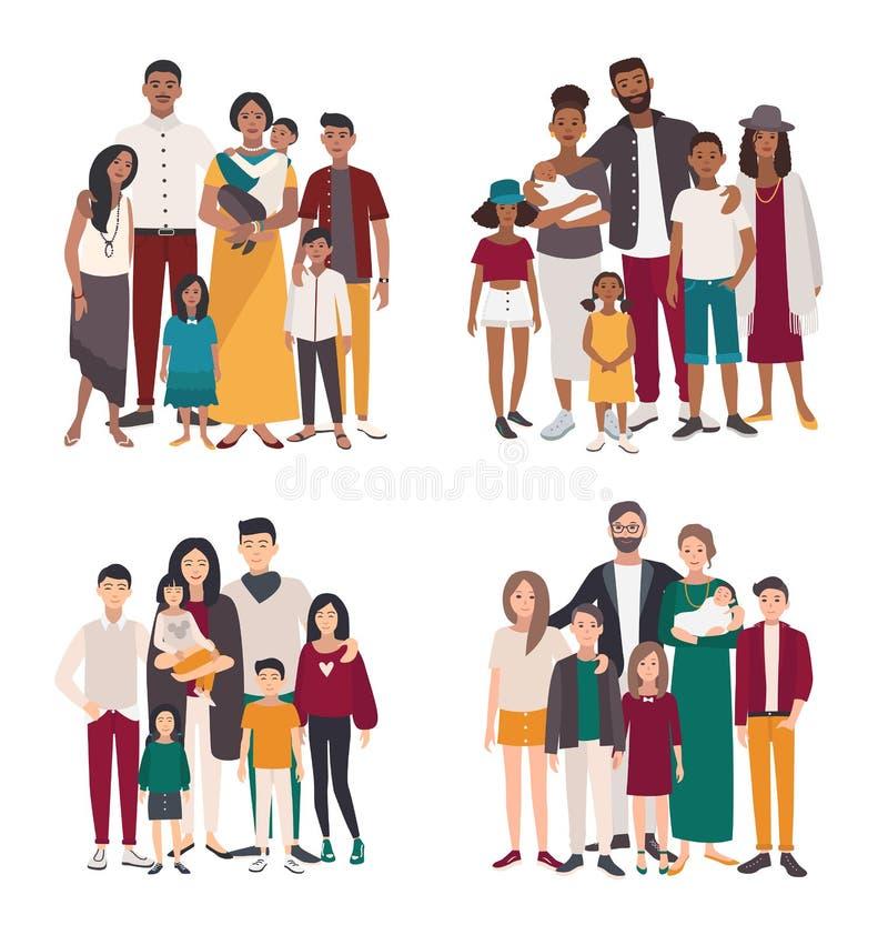 Set duża rodzina portret Różne narodowości afrykanin, hindus, europejczyk, azjata matka, ojciec i pięć dzieci, royalty ilustracja