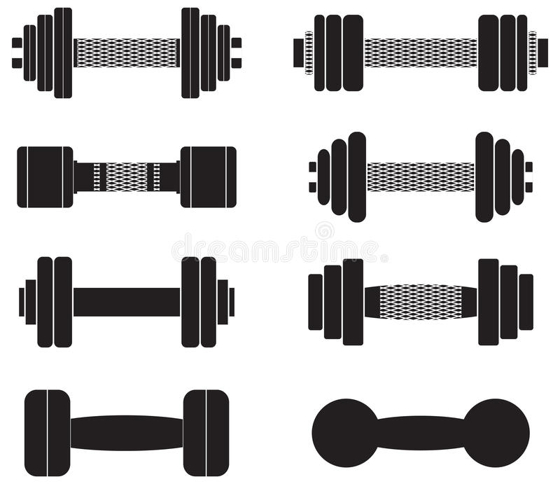 A set of dumbbells isolated on white background vector illustration