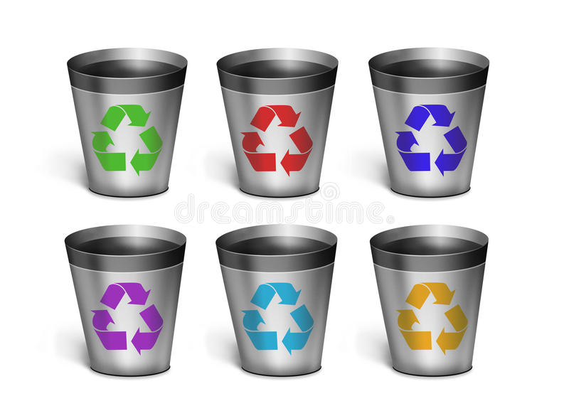 Set dumpsters. concept of Ecology. Set dumpsters. six simple dumpsters on a white background. concept of Ecology stock illustration