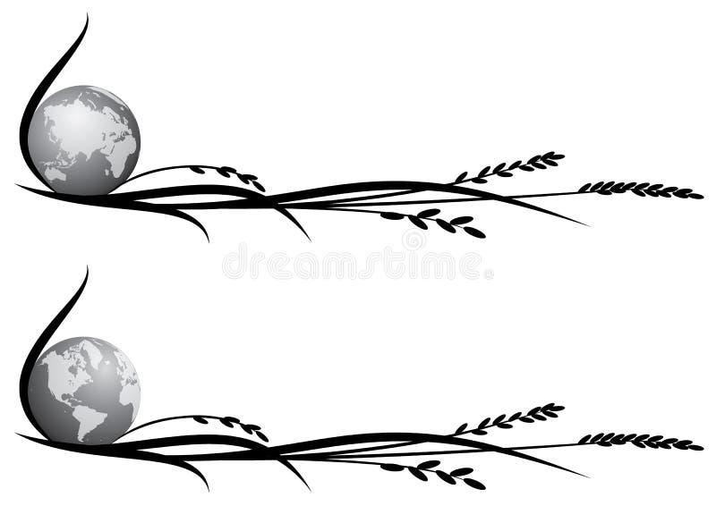 Set duviders z ryż i kulą ziemską ilustracja wektor