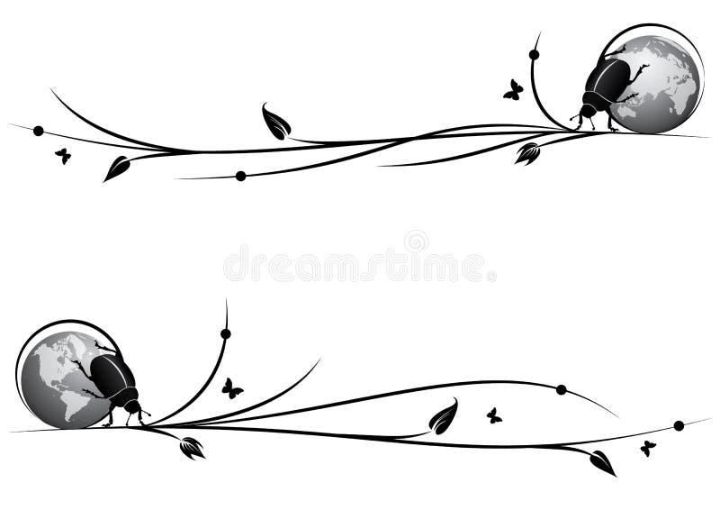Set duviders z skarabeuszem i kulą ziemską royalty ilustracja