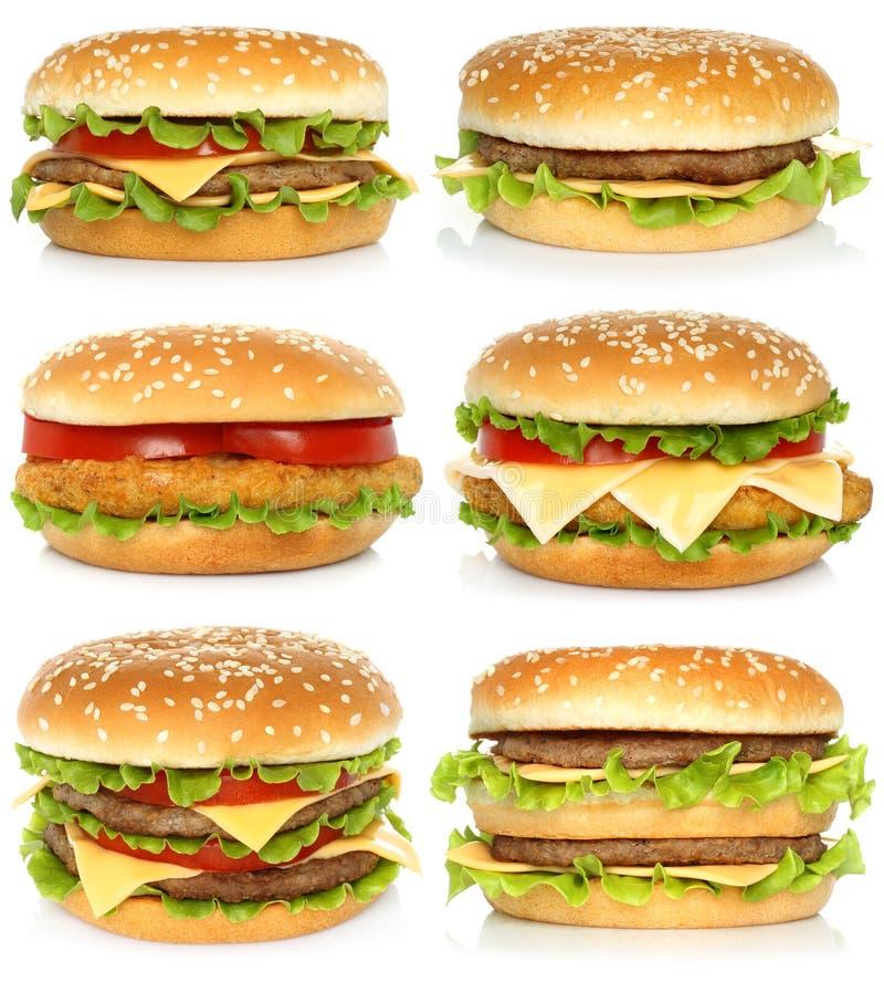 Set duzi hamburgery na białym tle zdjęcie royalty free