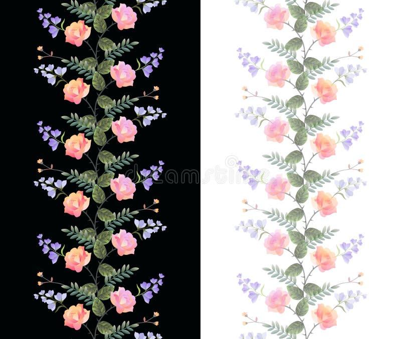Set dwa bezszwowej pionowo kwiecistej granicy odizolowywającej na czarny i biały tło Róże i dzwonkowi kwiaty Piękny projekt royalty ilustracja