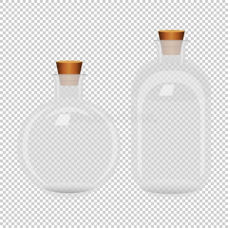 Set dwa białej przejrzystej zamkniętej butelki na bezszwowym tle ilustracja wektor