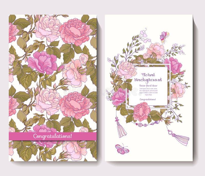 Set dwa karty dla ślubnego zaproszenie urodziny z wzrastał ilustracja wektor