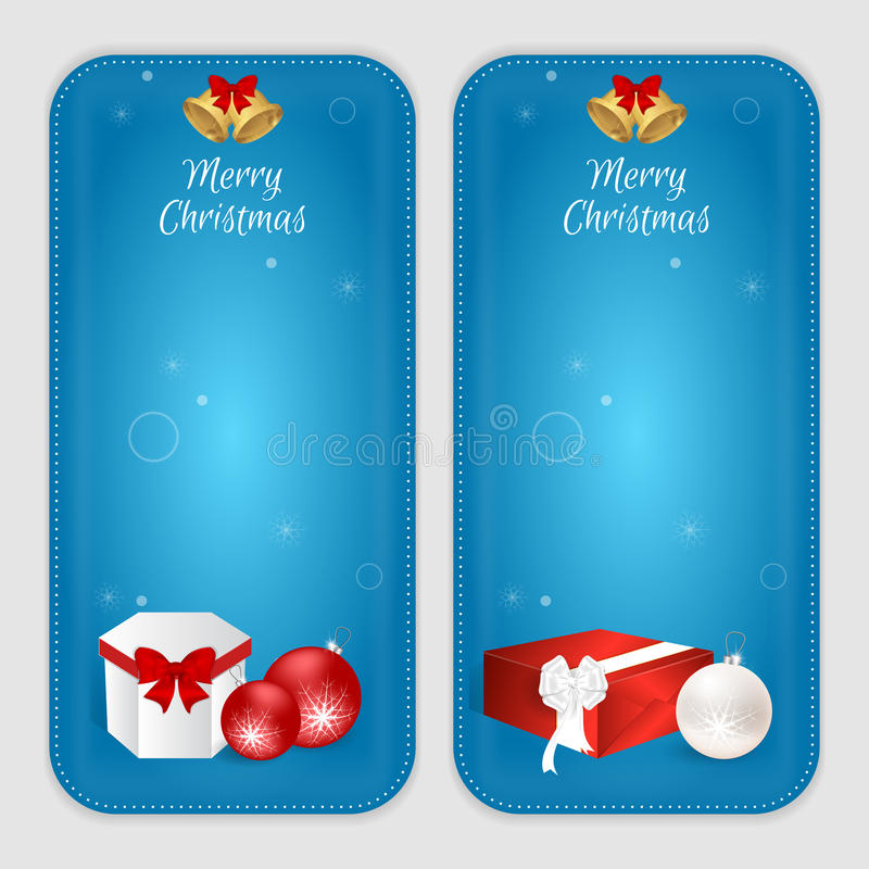 Set dwa pionowo sztandaru z Bożenarodzeniowymi piłkami, prezentów pudełkami i złotymi dzwonami, Stosowny dla sieć druku i projekt royalty ilustracja