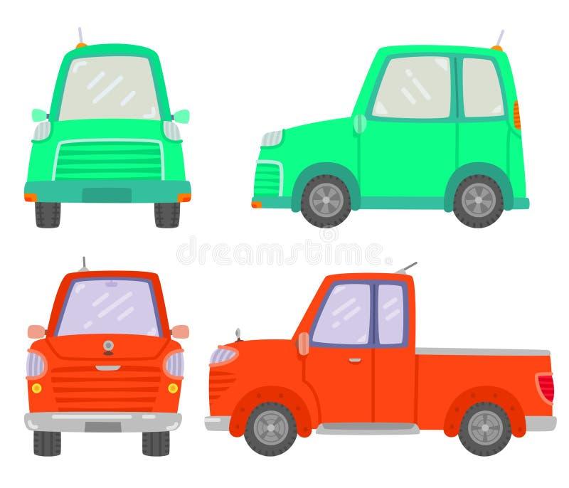 Set dwa samochodu frontowy i boczny widok, Mini samochód, Podnosi w górę samochodu, Eco samochód, Odizolowywający na białym tle obrazy royalty free