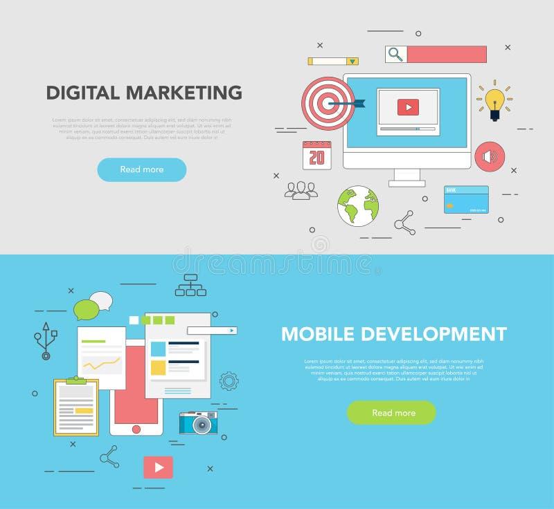 Set dwa sieć sztandarów projekta pojęcie dla Cyfrowego marketingu i sieć rozwoju royalty ilustracja