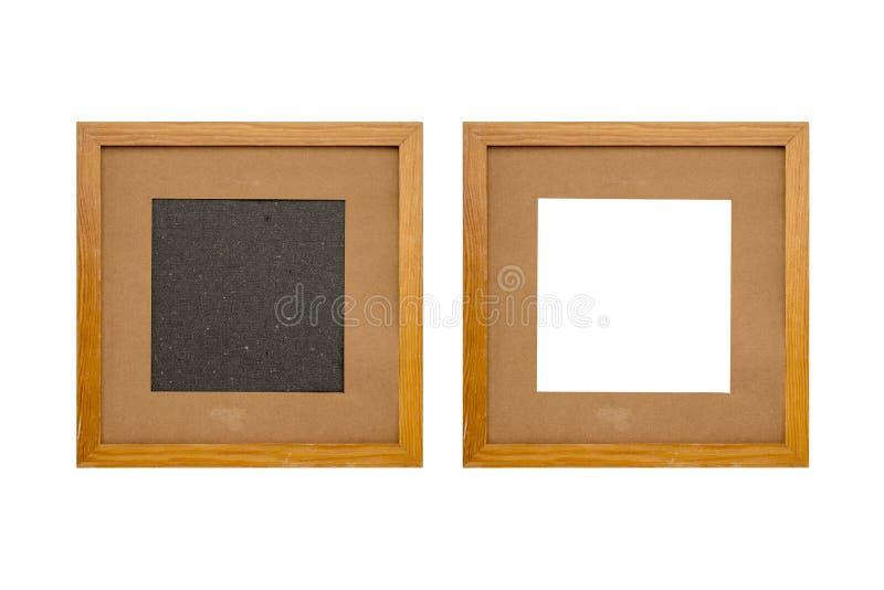 Set dwa starej drewnianej obrazek ramy z passepartout zdjęcia royalty free