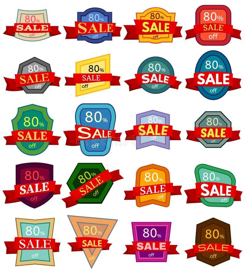 Set dwadzieścia dyskontowych majcherów Kolorowe odznaki z czerwonym faborkiem dla sprzedaży 80 procentów daleko ilustracja wektor