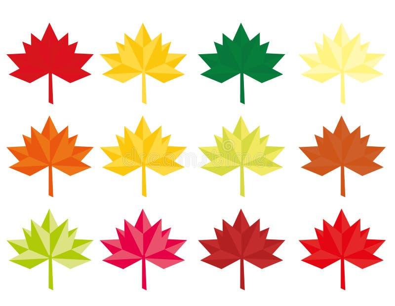 Set dwanaście abstraktów liści Wektorowy abstrakt barwił liścia klonowego liścia klonowego mieszkania stylu projekt Origami lub N ilustracja wektor