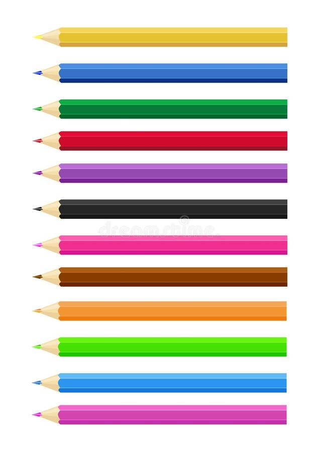 Set dwanaście barwił ołówek błękitnej zieleni czerwonego żółtego czerni purpurowego pomarańczowego błękit Bia?y t?o wektor ilustracji