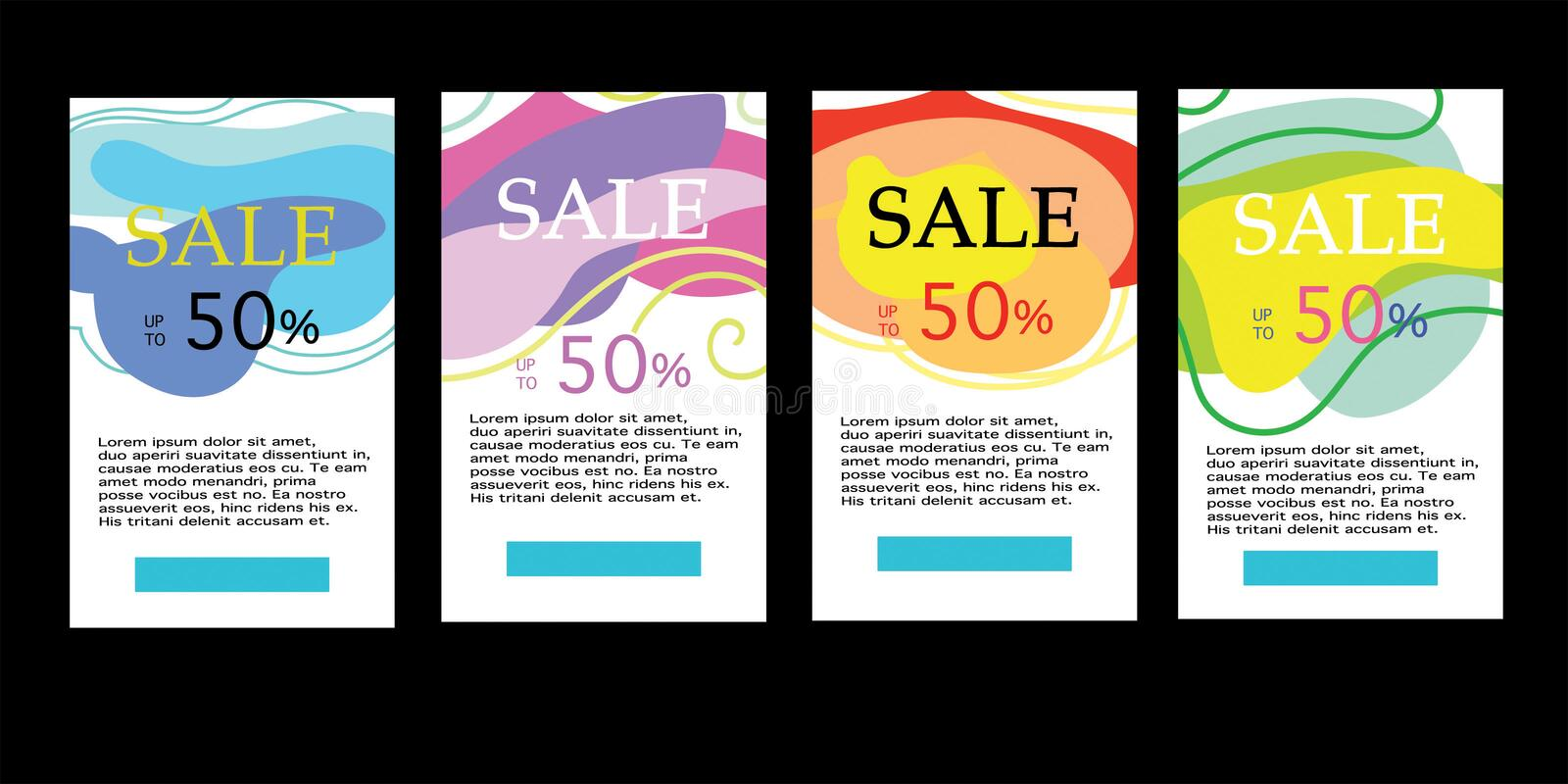 Set of dynamic abstract geometric fluid shapes. Colorful sale banner template. Modern design covers on a black background royalty free illustration