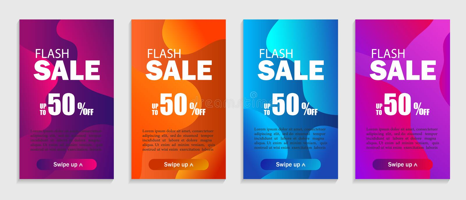 Set of dynamic geometric liquid shapes. Modern design covers for website, presentations or mobile apps. Flash sale template vector stock illustration