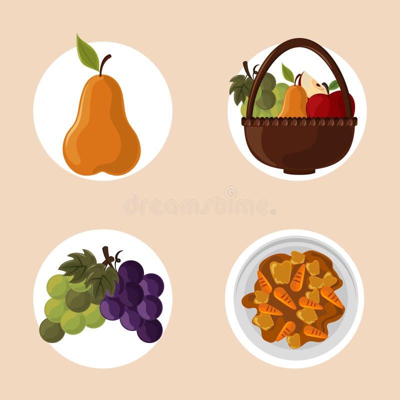 Set dziękczynienia jedzenie ilustracja wektor