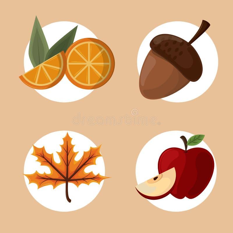 Set dziękczynienia jedzenie ilustracji