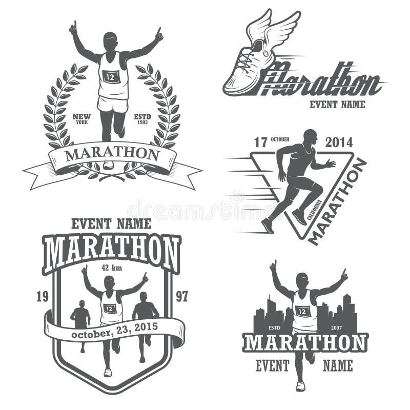 Set działający maraton i jogging emblematy royalty ilustracja