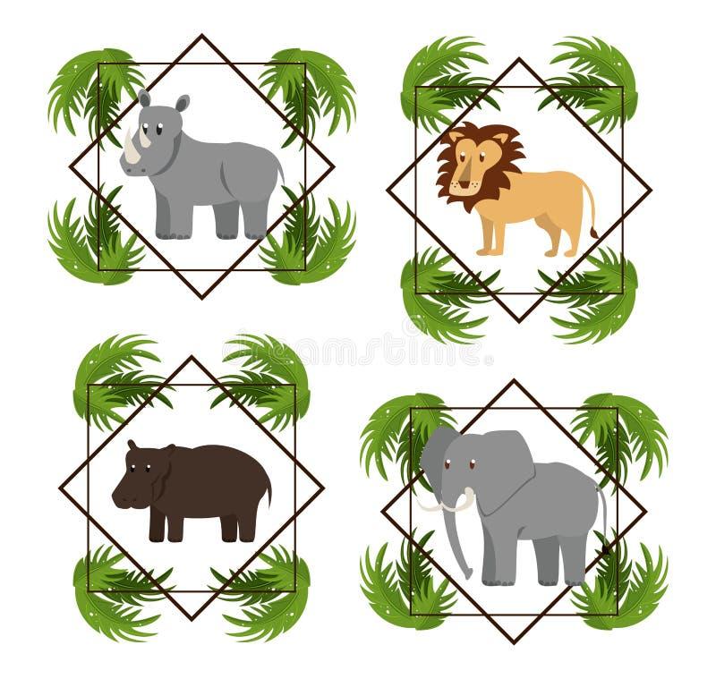 Set dzicy Afrykańscy zwierzęta ilustracja wektor